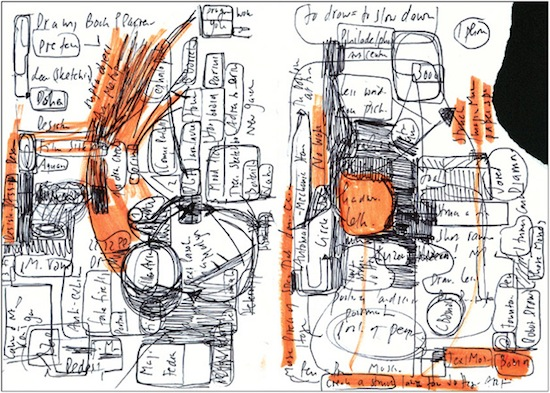 Hans Ulrich Obrist, Untitled, date unknown. Ink and marker on paper, 11.7 x 8.3 inches. Courtesy of Badlands Unlimited.