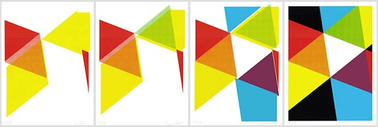 Sarah Crowner, The Color 3–6, 2013. Set of four silkscreen prints. NY Art Book Fair fundraising editions.